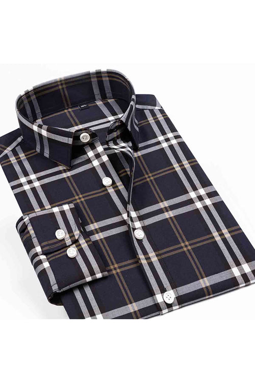 WearWhale Men's Long Sleeve Cotton Dark Shirt Large Grid Shirt