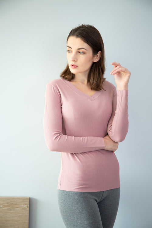 WearWhale V-Neck Rose Fiber Fabric Bottoming Shirt