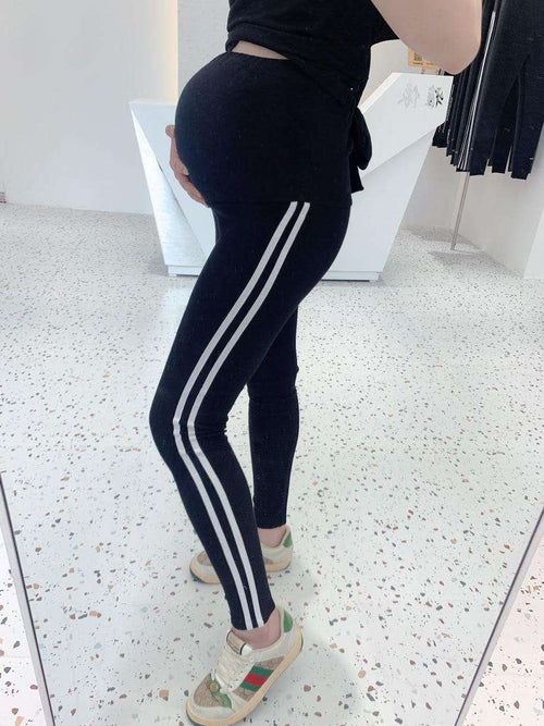 WearWhale Women Maternity Striped Sides Jogging Pants Sports Elastic