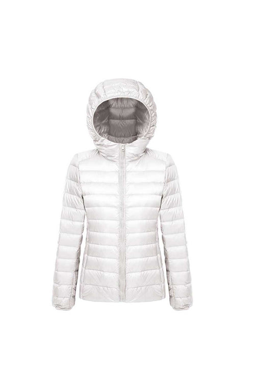 WearWhale women light white duck down long sleeve short hooded down jacket