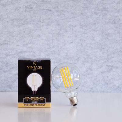 G95 LED Long Filament 8W E27 Clear 3000k | LED light globes | Vintage LED