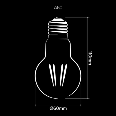 A60 GLS LED Filament Light Bulb E27 Clear Glass | Superior Quality LED Light Globes | Vintage LED