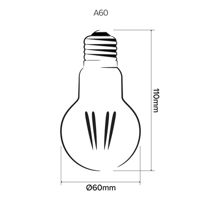 A60 6W LED light bulbs | E27 | GLS | LED light globes | Vintage LED