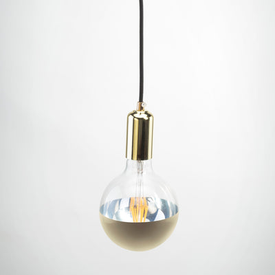 Gold Metal E27 Pendant with G125 round clear glass gold cap LED filament 6W Bulb | LED light globes | Vintage LED