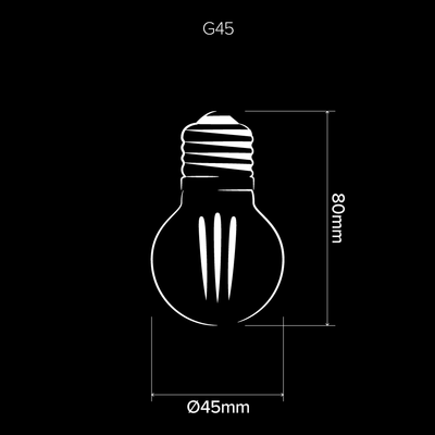 G45 3W Fancy Round LED Filament Light Bulb E27 Clear Glass | Superior Quality LED Light Globes | Vintage LED