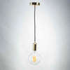 Gold Metal E27 Pendant with G125 round clear glass long filament LED 8W Bulb | LED light globes | Vintage LED