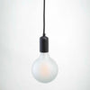 Matt Black Metal E27 Pendant with G125 Porcelain Frosted 10W LED Bulb | LED light globes | Vintage LED