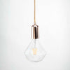 Rose Gold E27 Pendant with diamond shaped Clear Glass 6W Bulb | LED light globes | Vintage LED