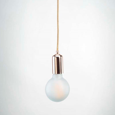 Rose Gold E27 Pendant with G95 round frosted glass LED filament 6W bulb  | LED light globes | Vintage LED