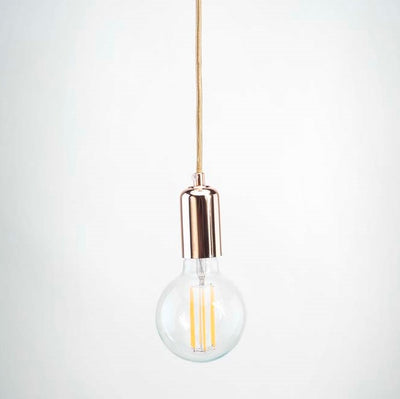 Rose Gold E27 Pendant with G95 round LED long filament clear glass 6W bulb | LED light globes | Vintage LED