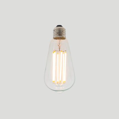 ST64 Long LED Filament 6W 2200k tear drop bulb E27 standard screw smoked glass | LED light globes | Vintage LED
