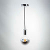 Silver Metal E27 Pendant with G125 Round Silver Cap 6W LED Bulb | LED light globes | Vintage LED