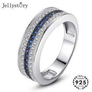 Jellystory 925 Sterling Silver Ring with Round Sapphire Zircon Gemstone Fine Jewelry ring for Women Wedding Party Gift wholesale