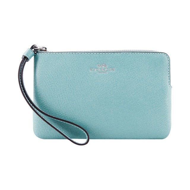 Coach Crossgrain Leather Corner Zip Small Wristlet Aquamarine F58032 wallet