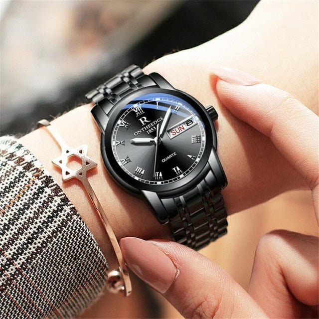 Watch Men Women Business Waterproof Clock Auto Date Silver Steel Mens Watches Fashion Casual Ladies Quartz Wristwatch NEW