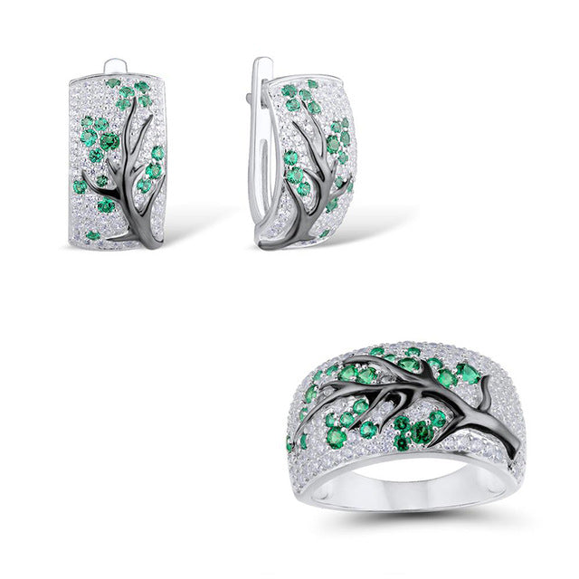 3pcs/set Unique Design Plum Blossom Silver Jewelry Set for Women Vintage Crystal Zircon Red Green Hoop Earrings Ring Wedding Set