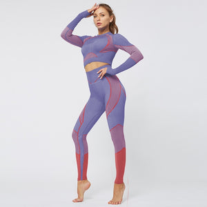 Gym Wear Women Yoga Set Seamless Patchwork Crop Tops Shirts And High Waist Push Up To Hips Leggings Fitness Clothing For Women