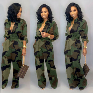 Hirigin Women Fashion Sexy Long Sleeve Button Tie Deep V-Neck Camouflage Loose Jumpsuit Rompers Suits Clubwear