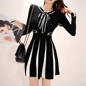 2020 New Fashion Knitted Dress Women Vintage Striped Fall Winter Bow Collar Slim Elastic A-line Ladies Sweater Dress Vestidos