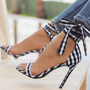 Scottish Plaid High Sandals Women Cross-Tied Heels Ladies Ankle Strap Lace Up Party Bow High Shoes