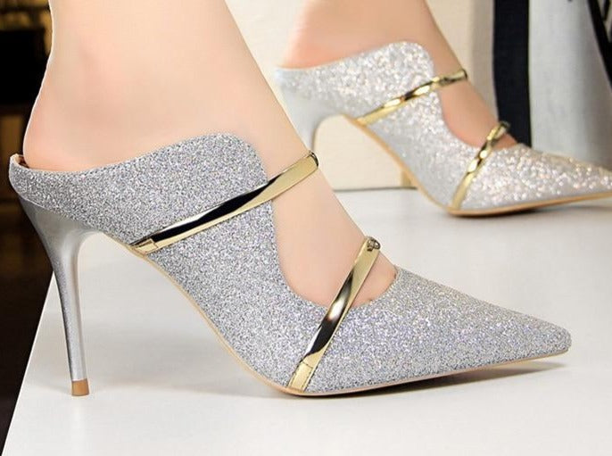 BIGTREE Shoes Sequin High Heels Silver Women Pumps Spring Women Shoes Sexy Party Shoes Gold Wedding Shoes Women Sandals Stiletto