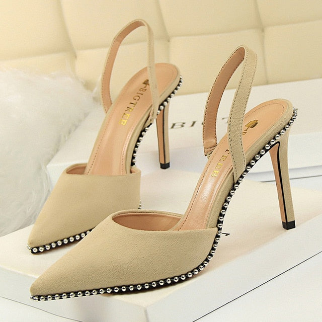 BIGTREE Shoes Rivet Women Pumps Pointed Toe High Heels Suede Women Shoes Sexy Party Shoes Women Heels Women Sandals Stiletto