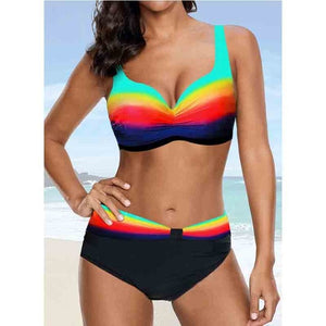 Push Up Bikini 2020 Vintage Sexy Gradient Striped Halter SwimSuit Women Summer Big Size Bikini Set Swimwear Ladies Plus Size 2XL