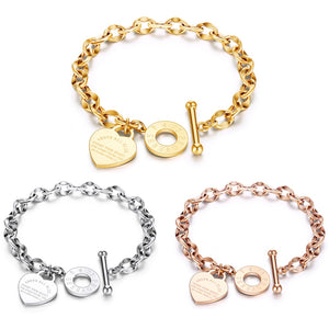 Stainless Steel Love Heart Bracelets For Women Party Gift Fashion Joyas de Chain Charm Bracelets Jewelry Wholesale Text Engraved