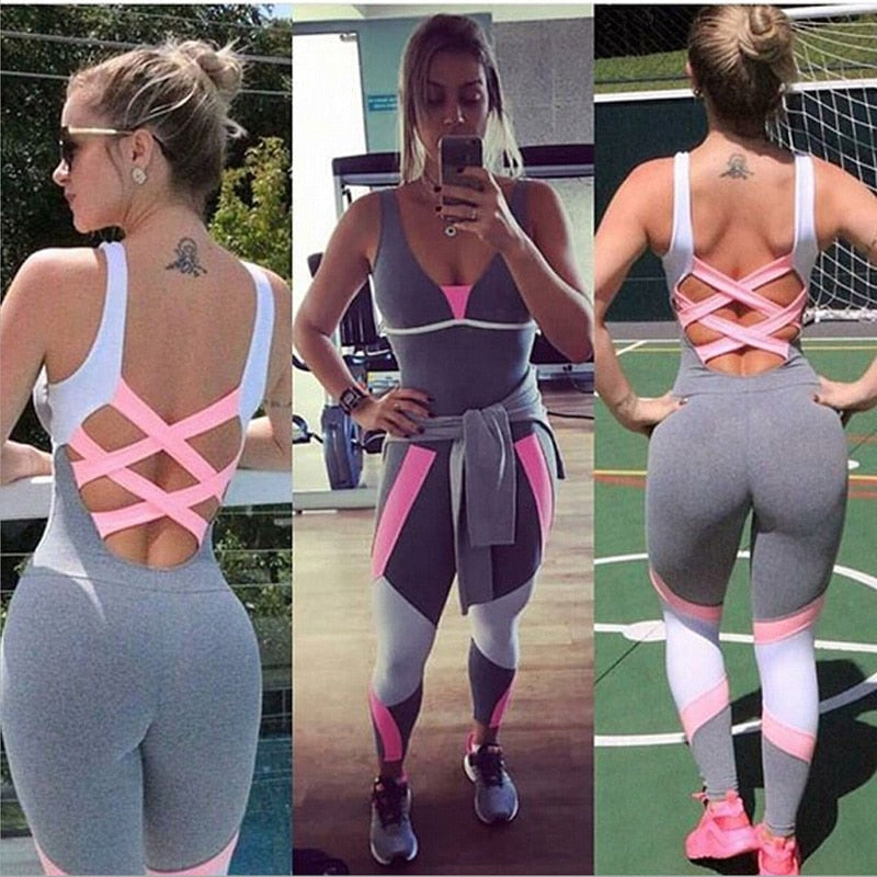 pgm Tracksuit Sport Wear Yoga Set Fitness Top Running Sportswear Soft Yoga Jumpsuit Gym Clothing Workout Women  one Pieces Set