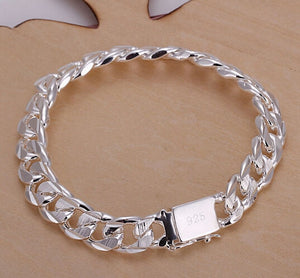 New high-end women's mens fine 925 sterling silver bracelet fashion jewelry gift men's 10MM square beautiful gem