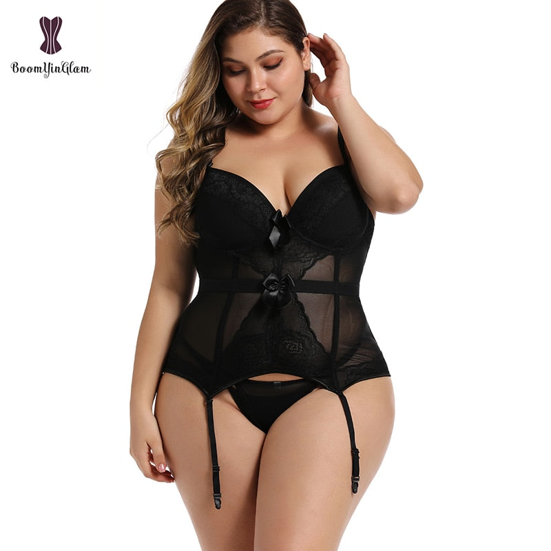 Plus Size Corset Lingerie Lace Up Bodysuit For Women Strap And Backless Corset Bowknot Corsets And Bustiers With Suspenders 944#