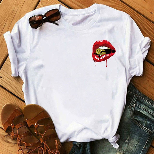 Red Lip Tshirts Women Harajuku Ullzang Kawaii T-shirt Summer Femme Tshirt Fashion Short Sleeves Tops Tees Female T Shirt