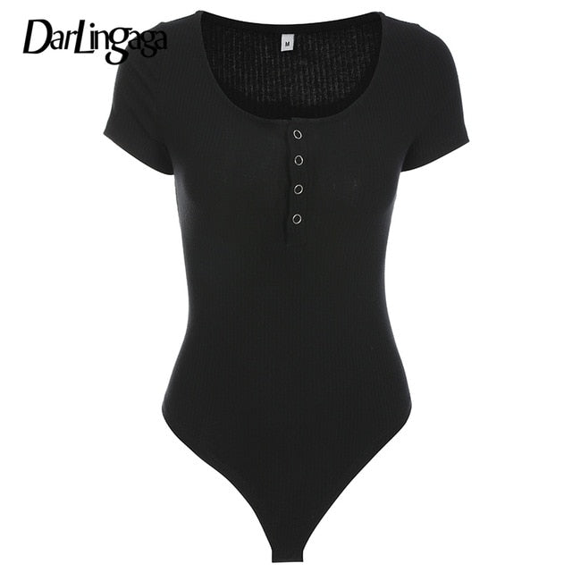 Darlingaga Autumn winter sexy black bodysuits skinny buttons long sleeve bodysuit women shirt 2020 fashion body mujer jumpsuits