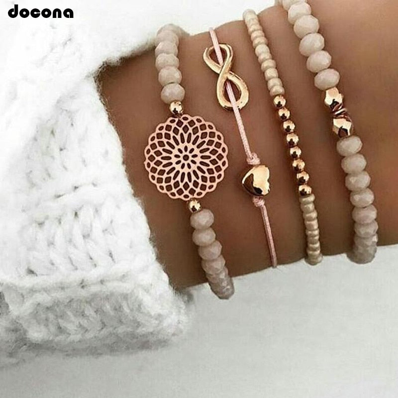 docona Boho Heart Orange Beadeds Bracelet Set for Women Flower Chains Adjustable Bracelet Bangle Jewelry Bransoletka 4019