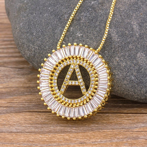 Classic A-Z Initials Gold/White/Rose Gold 3 Colors Choice Micro Pave CZ Letter Pendant Name Necklace Charm Family Jewelry Gift