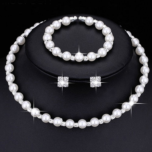 Fashion Wedding Bridal Jewelry Set Pearl Party Prom Silver Color Crystal Bracelet Necklace Earrings for Women jewellery sets
