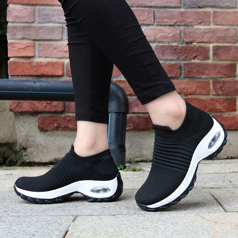 Womens Flats Slip On Shoes for Women Sock Sneakers Platform 2019 Comfortable Soft Ladies Spring Buty Damskie Sepatu Wanita Black