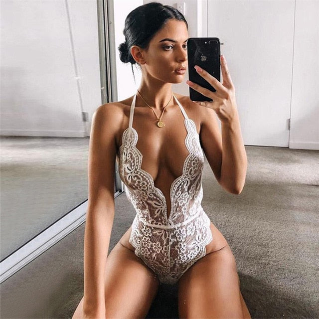 Sexy Hollow Lingerie Bodysuit Women Bra Set Lace Perspective Deep V Hot Erotic Underwear One Piece Halter Open Sexy Lingerie Set