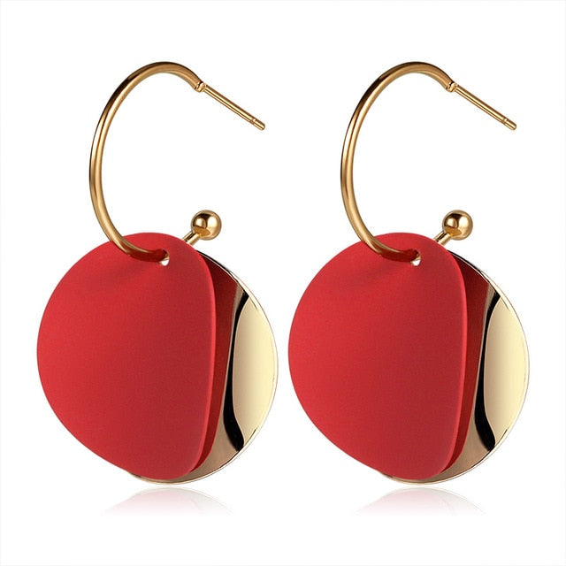X&P New Korean Heart Statement Drop Earrings 2020 for Women Fashion Vintage Geometric Acrylic Dangle Hanging Earring Jewelry