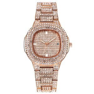 Free Dropshipping New 2020 Femme Diamond Mens Watches Hip Hop Quartz Watch For Women Iced Out Female Clock Male Wristwatches