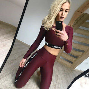 2020 Striped Yoga Sport Suit Long Sleeve Workout Clothing For Women Fashion Letter Sport Leggings Bras Yoga Set Fitness Gym Wear