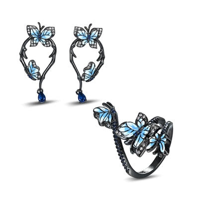 NPKDS 3pcs Fashion Zircon Leaf Shape Ring Exquisite Earrings Bohemian Women's Wedding Jewelry Set