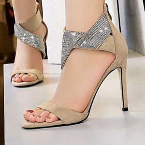 BIGTREE 2020 Summer New Crystal Ankle Strap Sandals Women Sexy Open Toe Flock Zipper Thin High Heels Pumps Female Wedding Shoes