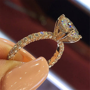 New Hot Flash Diamond Round Princess Ring Crystal from Austrian Fashion Women Engagement Marriage Diamond Ring Mother's Day