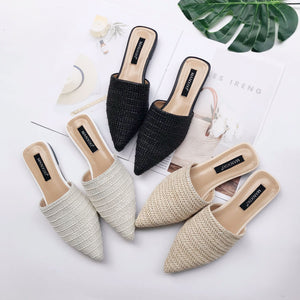 2020 Summer New Women's Shoes pointed knitting breathable flat shoes sandals muller Women's Slippers