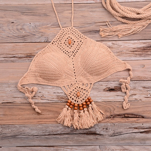 Sexy Halter Tie Knitting Bikini New Beach Crochet Swimwear Halter Beaded Tassel Crop Top Brazil Bikini Swimsuit Bathing Suit