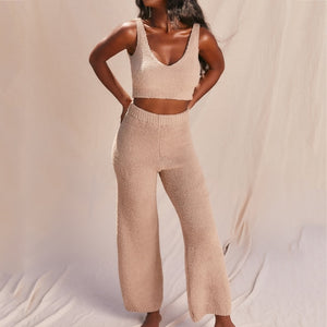 Women Two Pieces Plush Fluffy Sleeveless Crop Top High Waist Pants Trousers Matching Sets Tracksuits Outfits Casual Sweatshirts