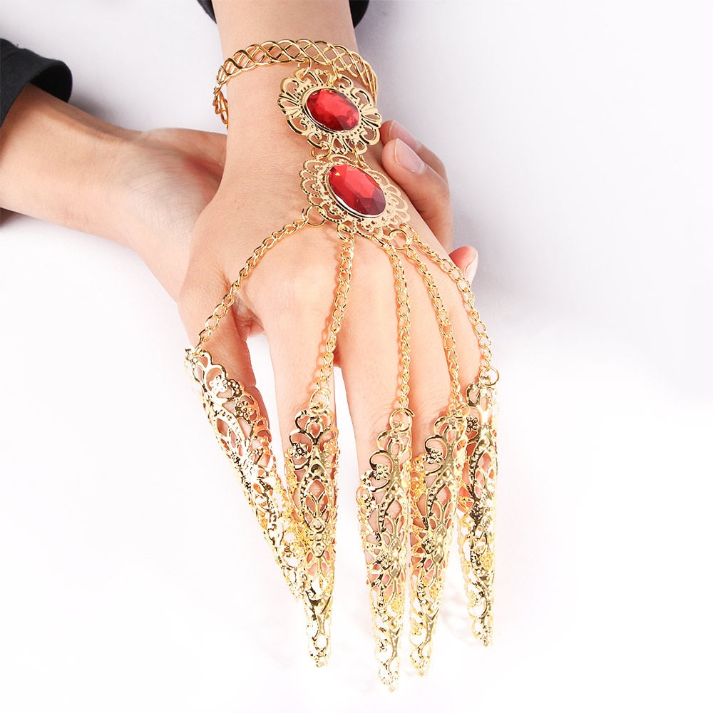 Fashion Indian Thai Golden Finger Bracelet Shining Red Crystal Girl's Belly Dance Bracelet Jewelry