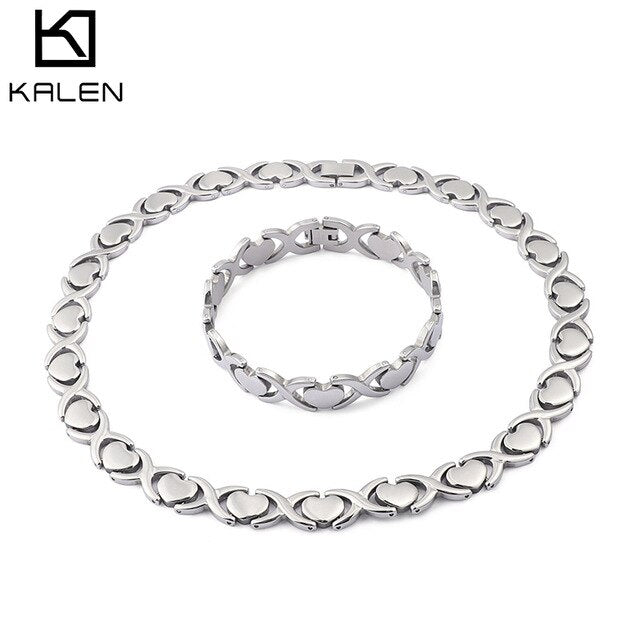 KALEN New Jewelry Sets For Women Gold Color Stainless Steel Bracelet & Necklace Sets Fashion Bohemia Heart Femme Jewelry Gifts