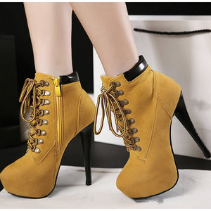 Women Pumps Shoes Boots Cross Tied Platform Sexy Stiletto Ankle Female Suede Zipper High Heels Ladies Fashion Thin Heel Fashion